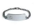 Premium Stainless Steel ID Bracelet with clear emblem. (5 lines)