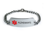 Alzheimer's Medical ID Bracelet with 5 lines engraving.
