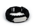 Black Paracord Sport and Travel ID Bracelet.