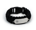 Black Paracord Medical ID Bracelet with Clear Medical Emblem.