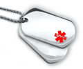 Double Stainless Steel ID Dog Tag with 18 lines of engraving.