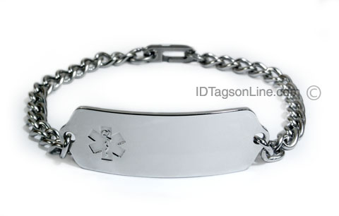 Premium Stainless Steel ID Bracelet with clear emblem. (5 lines) - Click Image to Close