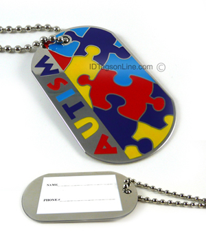 Autism ID Dog Tag. - Click Image to Close