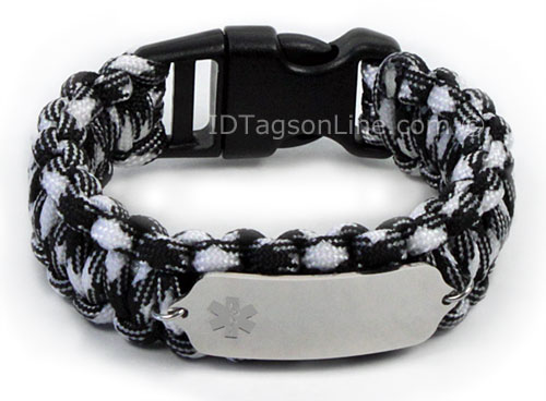 Zebra Paracord Medical ID Bracelet with Clear Medical Emblem. - Click Image to Close