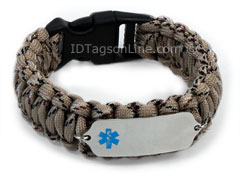 Camo Desert Paracord Medical ID Bracelet with Blue Emblem.