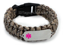 Camo Desert Paracord Medical ID Bracelet with Pink Emblem.