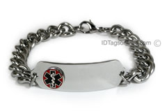 Classic ID Bracelet with raised medical emblem and wide chain.
