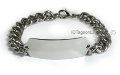 Premium Classic Stainless Steel ID Bracelet with wide chain.