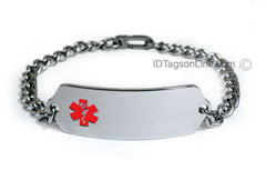 Premium Classic Stainless Steel ID Bracelet with red emblem.