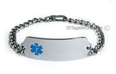 DNR Classic Stainless Steel ID Bracelet with Blue emblem.