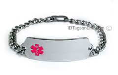 DNR Classic Stainless Steel ID Bracelet with Pink emblem.