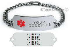 Medical ID Bracelet for single Medical Condition.