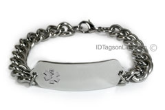 Classic Stainless Steel ID Bracelet with wide chain.Clear Emblem