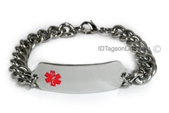 Classic Stainless Steel ID Bracelet with wide chain.