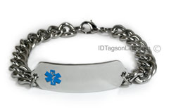 Classic Stainless Steel ID Bracelet with wide chain. Blue Emblem