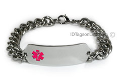 Classic Stainless Steel ID Bracelet with wide chain. Pink Emblem