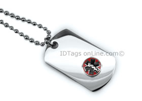 Premium Mini Dog Tag with raised medical Emblem.