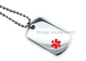 Premium Medical Mini Dog Tag with red medical Emblem.