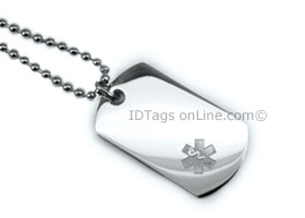 Premium Medical Mini Dog Tag with clear medical Emblem.