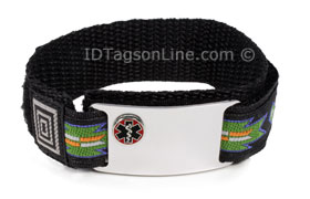 Stainless Steel Sport ID Bracelet with raised Medical Emblem
