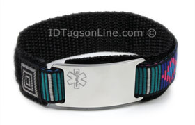 Stainless Steel Sport ID Bracelet with engraved Medical Emblem