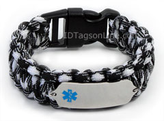 Zebra Paracord Medical ID Bracelet with Blue Medical Emblem.