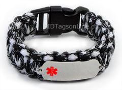 Zebra Paracord Medical ID Bracelet with Red Medical Emblem.