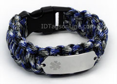 Blue Camo Paracord Medical ID Bracelet with Clear Medical Emblem