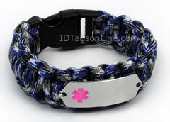Blue Camo Paracord Medical ID Bracelet with Pink Medical Emblem.