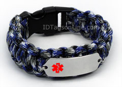 Blue Camo Paracord Medical ID Bracelet with Red Medical Emblem.