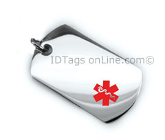 Pisces Healthcare Solution Medical Mini Dog Tag with red Emblem.